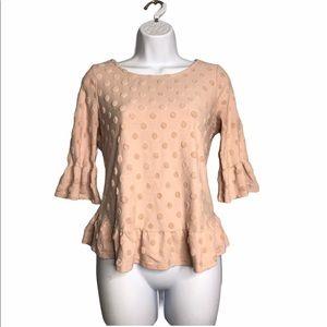 W5 | Pink Dot Embroidered Peplum Blouse T-shirt